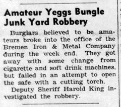 1960 - junk yard burgled - Enquirer - 14 Jul 1960