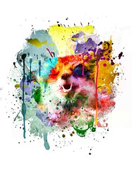 You Make Me Smile (Water to My Soul) Tags: fox splatter splats paint colourful colorful watercolour watercolor drips smile smiling