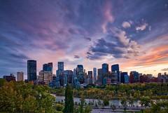 Calgary September 16 sunset (John Andersen (JPAndersen images)) Tags: albertasunset bowriver calgary cloudy fallcolours skyline