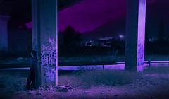FORGIVE ME. (PeachySick11) Tags: forgive me fantasy pink outskirts surreal surrealism surrealismo surrealista edit color colours colores rosa night underbridge debajo puente bridge town column columnas columns isolated lonely loneliness soledad asolado lost perdido man boy persona figura lighting road dream dreaming