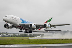 A6-EDC Airbus A380 Emirates Glasgow airport EGPF 27.07-19 (rjonsen) Tags: plane airplane aircraft aviation airliner takeoff deaprture liftoff rotation water spray wet condesation vapour