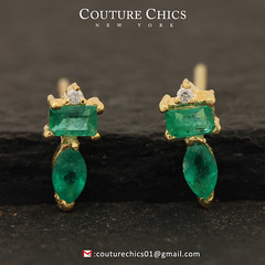 Genuine Emerald Gemstone Minimalist Stud Earrings Natural Diamond Solid 14k Yellow Gold Fine Jewelry (couturechics.facebook1) Tags: genuine emerald gemstone minimalist stud earrings natural diamond solid 14k yellow gold fine jewelry