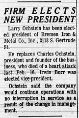 1966 - Larry Ochstein succeeds father at Bremen Iron & Metal - South Bend Tribune - 13 Mar 1966