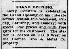 1960 - Larry Ochstein opens gas station - Bremen Enquirer - 8 Dec 1960