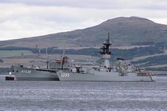 USS Truett  & Frankenland - Firth of Clyde - 05-09-76 (MarkP51) Tags: usstruett tailofthebank firthofclyde greenock usnavy frigate ship boat vessel sea water sunshine sunny