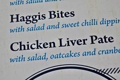 Menu, Glasgow, UK (Robby Virus) Tags: glasgow scotland uk unitedkingdom britain gb greatbritain menu food restaurant haggis bites chicken liver pate