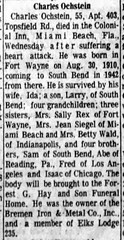 1966 - Charles Ochstein obit - South Bend Tribune - 17 Feb 1966