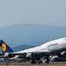 Boeing 747-400 of Lufthansa Pulling Up From YVR