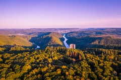Sunset in Saarland, Germany (DrQ_Emilian) Tags: landscape view forest trees woods river water sky clouds sunset dawn evening mood sunlight sunshine light colors details tower structure wanderlust aerial travel visit explore discover baumwipfelpfadsaarschleife saarschleife saarland germany photography hobby drone djimavic2pro