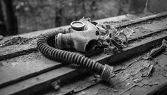 Children's Gas Mask at Pripyat School - 11/09/2019 (kevaruka) Tags: chernobyl exclusion zone 911 pripyat dodgems bumper cars bw nuclear disaster urban photography black white ga mask canon eos 5d mk3 ef 1635 f28 mk2 wide angle uwa ultra ukraine 5d3 5diii doll gas dof depth people photoadd television flickr front page kevin frost composition colour colours color colors contrast school september 2019 11092019 indoor kiev ferris wheel fair amusement park fun tram corridor sun sunshine sunny day duga radar