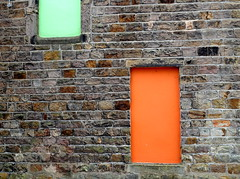 Orange door and green window (Tony Worrall) Tags: preston lancs lancashire city welovethenorth nw northwest north update place location uk england visit area attraction open stream tour country item greatbritain britain english british gb capture buy stock sell sale outside outdoors caught photo shoot shot picture captured ilobsterit instragram photosofpreston color colours doorway portal closed wall spacecentre shades ashtononribble ashton