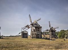 Windmills in Ukraine (Laurie4593) Tags: windmill nationalmuseumoffolkarchitectureandlifeofukraine museum historic history old outdoors sky sunny agricultural agriculture nostalgia kyiv ukraine europe canon