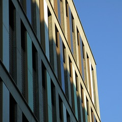 penumbra (vertblu) Tags: building officebuilding facade architecture modernarchitecture abstractarchitecture diagonal perspective windows blueskies lightshadow intheshades partialshade geometric geometrical geometry vertblu graphical graphic lines linien verticals slantinglines bsquare 500x500