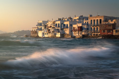 Little Venice in Chora at Sunset, Mykonos, Greece (ansharphoto) Tags: aegean architectural architecture beach blue building chora city cityscape coast culture cyclades destination europe evening famous greece greek harbor history holiday house iconic island landmark landscape little mediterranean mikonos monument mykonos sea seafront skyline splash storm sunset tourism town travel urban vacation venice view village water wave white whitewashed wind