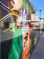 Reflections in Green Hair (Steve Nimmons | Author) Tags: streetart london croydon southlondon art artcollege greenhair reflection redbus bus buses londonbus painting reflectionphotography colors color colour outside day wall design