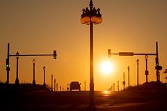 Chicago Sunrise (PeskyMesky) Tags: street red sky sun chicago silhouette sunrise canon eos canon5d sunse southmichiganavenue