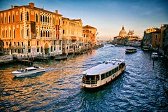 evening bus (khrawlings) Tags: evening venice grand canal accademia bridge water italy sunset golden boats basilicadisantamariadellasalute