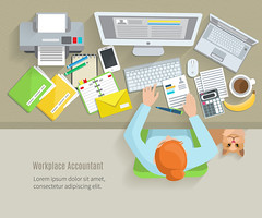 Accounter Workplace Flat (anil.webrication) Tags: workspace accountant workplace desk laptop tools job cup worker top work office report table computer coffee business human people envelope place account printer cat person paperwork view interior woman girl wooden sitting decorative set collection icons object symbol elements emblem design concept vector illustration flat hand accounter