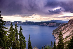Rumbling Over the Lake (gwendolyn.allsop) Tags: crater lake national park water blue storm clouds mt thielsen mountain rim oregon