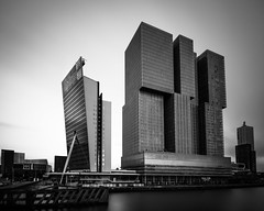 Wilhelminapier II (s.W.s.) Tags: rotterdam netherlands holland city architecture architectural buildings kpn derotterdam urban sky longexposure neutraldensity blackandwhite nikon lightroom