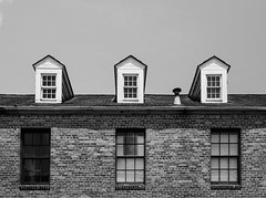 Windows everywhere (Rabican7) Tags: nola neworleans louisiana architecture windows structure building blackandwhite bw monochrome pattern photography traveling hww happywindowwednesday bricks wall glass front sky roof symmetry lines frenchquarter street urban city contrast hanks