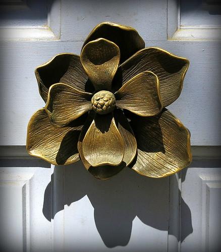 Bronze magnolia door knocker, Charleston, SC