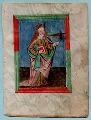 PRAYER BOOK LEAF Ref 586 recto (RMGYMss.) Tags: medieval illuminated manuscript medievalmanuscript illuminatedmanuscriptprayerbook germany german miniature saintlucy sanctalucia augsburg