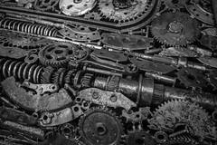 Metallic (ivanstevensphotography) Tags: cars metal sculpture metalsculpture nuts bolts nutsandbolts wet rain blackandwhite tones
