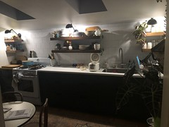 260/365 (moke076) Tags: lighting new white house green kitchen vintage lights mine floating reno renovation remodel shelves cabinets countertop oneaday mobile project cellphone cell photoaday 365 iphone 2019 project365 365project