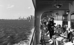 Staten Island Ferry (neilsonabeel) Tags: nikonfm2 nikon nikkor film analogue blackandwhite ferry statenisland newyorkcity manhattan boat water harbor