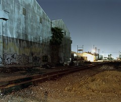 Reliance Steel at night (ADMurr) Tags: la eastside night old industrial tracks corrugated palm hasselblad 500cm 50mm distagon zeiss cz kodak ektar 120 6x7 cropdba757