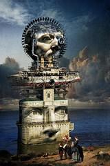 Monument to those Lost at Sea (Vincent Mattina (aka FLUX)) Tags: sea lost ocean head headstone family art digital machine ship shipwreck clouds horselatitudes