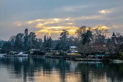Winter evening (FVillalpando) Tags: winter snow houses geneva sunset clouds lake water reflection calm landscape stormcloudslightcitiesnaturelandscapeweather ngysa