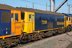 GB Railfreight 73109 - Peterborough (Neil Pulling) Tags: gbrailfreight 73136 73109 66771 gbrf peterboroughstation eastcoastmainline train locomotive railway ecml transport