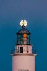 Align (Nicola Pezzoli) Tags: formentera isola island spain sea mediterraneo mare holiday vacanze baleari baleares nature natura lighthouse faro far mola pilar moon luna sunset align light zoom