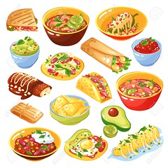Mexican Food Set (serra059) Tags: snack white design background icon set banner collection colorful object food traditional flyer advertising menu restaurant cafe meal tasty national lunch dinner mexican hot plate cuisine pepper roll dish corn bowl chip sauce chili bean soup spicy avocado taco burrito salsa tortilla guacamole nacho ad illustration realistic isolated vector