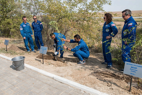 Prime and backup station crews with spaceflight participants plant trees