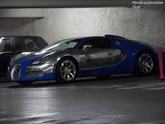Bugatti Veyron Centenaire (Monde-Auto Passion Photos) Tags: voiture vehicule auto automobile cars bugatti veyron centenaire bleu aluminium bicolore sportive hypercar rare rareté parking sousterrain vendome france paris