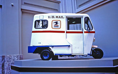Mail Truck, Post Office Museum, Washington, D.C. (gg1electrice60) Tags: wahingtondc districtofcolumbia dc unitedstates usa us washingtoncounty washington alexandria maryland virginia va md museums postofficemuseum mail postofficevehicle postofficetruck postaldeliverytruck tricycletypetruck whitewithredbluestripe eaglelogo logo ondisplay nationalpostalmuseum 2massachusettsavenewashingtondc20002 smithsoniansnationalpostalmuseum philatelicmaterial smithsonian massachusettsavenuene massachusettsavenortheast