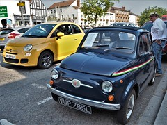New & Old Fiat 500 Cars. (ManOfYorkshire) Tags: fiat 500 fiat500 new old original vup765l blue yellow wn15ppu 2015 1972 2019 bawtry car show parked roadside forsale petrol 1242cc 499cc 2door