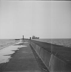 to the lighthouse on film (k0ntiki) Tags: analogue film kiev60 blackandwhite lighthouse sea latvia