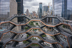 Looking Out (iammattdoran) Tags: vessel related hudson yards development regeneration rail heavy transportation west manhattan new york architecture british architect thomas heatherwick attraction visitor tourist free entry brass web weave skyline buildings skyscrapers skyscraper tall billionaires millions office hotel residential expensive