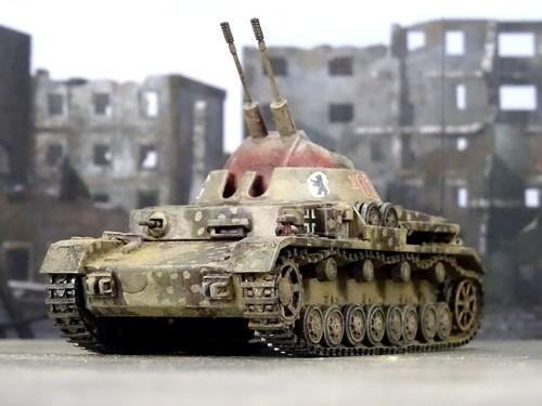 172 panzer iv kugelblitz aa flak leichter flakpanzer 3 cm flakzwilling mk103 antiaircraft hasegawa kit model modellbau conversion fist war modelcollect vierfüssler heer 46 1945 dizzyfugu
