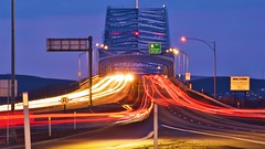 Blue Bridge Light Show (swanny6416) Tags: bluebridge tricities pasco kennewick richland lighttrails light trails cars bridges bridge sunset nightshot