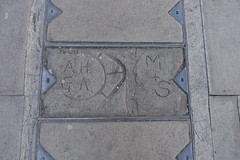 15th September 2019 (themostinept) Tags: concrete pavement path street initials engravings lettering marks writing names grey london hackney n16 stokenewington stokenewingtonchurchstreet