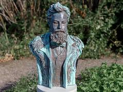 """Epaulettes for W. Morris"", Surrey Sculpture Society Trail, RHS Garden Wisley, Surrey, UK (rmk2112rmk) Tags: epaulettesforwmorris surreysculpturesocietytrail rhsgardenwisley surrey uk wisley sculpture art william morris teresamartin bronze iron resin dof"
