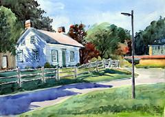 Scarborough Museum, Plein Air, 2019-09-18 (light and shadow by pen) Tags: watercolor landscape scaroboroughmuseum art toronto park