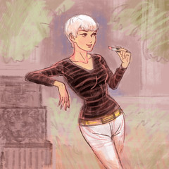 Frenchy (Dashaaff) Tags: illustration sketch digital french woman photoshop drawing art