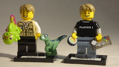 Brick Yourself Custom Lego Minifigures - Gamer with Sushi & Reptile lover with Pet Dinosaur & Chamelon