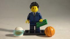 Brick Yourself Custom Lego Minifigure - Smart Businessman with Racing Helmet, Basketball & Money